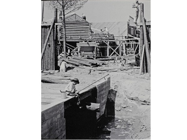 In 1955, Delmar Watson was invited to photograph Disneyland under construction, resulting in a rare series of images of the unfinished park. Courtesy of the Watson Family Photographic Archive.