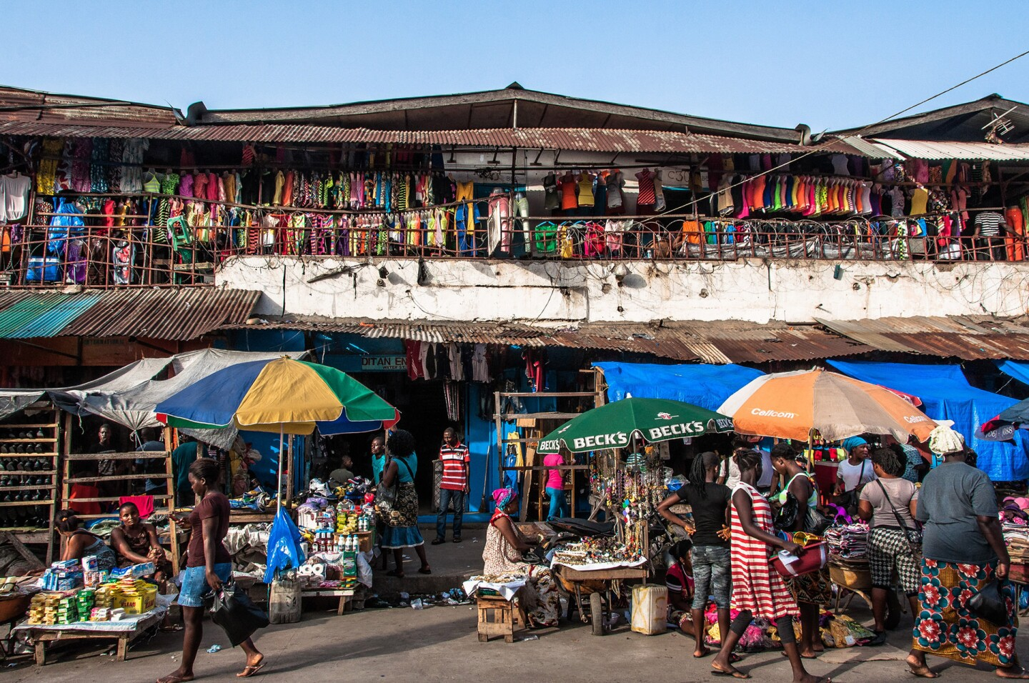 A series of stores in the Waterside Market section of Monrovia, Liberia.