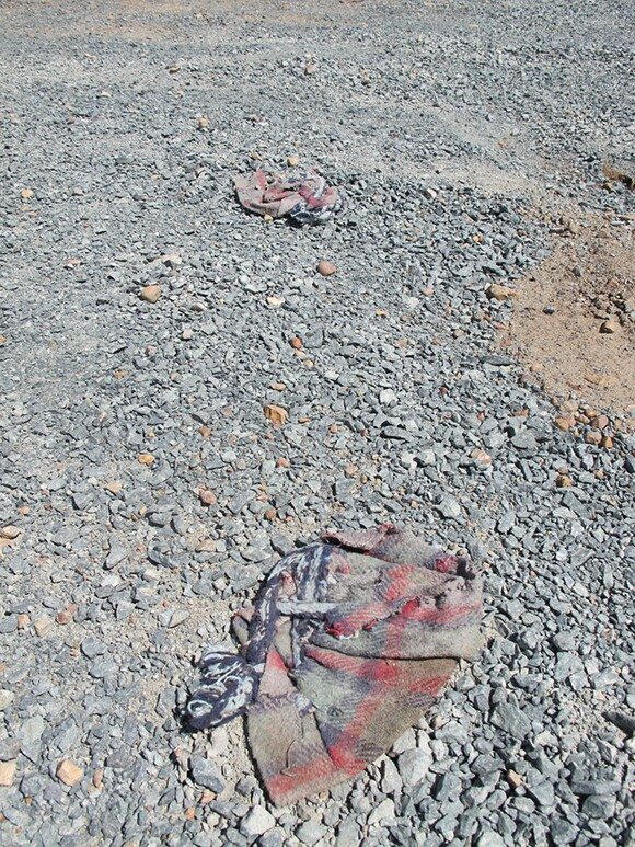 Fabric used as shoe covering by a border crosser in an attempt to avoid leaving footprints that could be tracked by border agents. | Photo: Jena Lee.