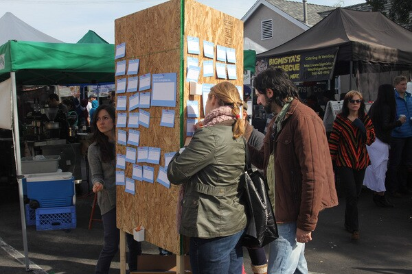 Visitors to the Atwater Village Farmers Market fill in: 'I Want My River to Be...'