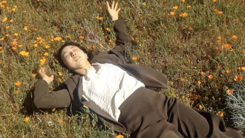 A woman lays on a field of California poppies for one of Invertigo's Dance Care Package performances | Courtesy of Invertigo