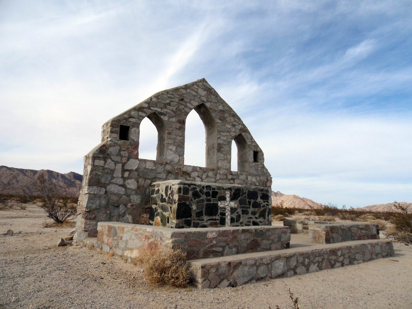 The remains of a Catholic stone chapel stands at Camp Iron Mountain in the Mojave Trails National Monument.