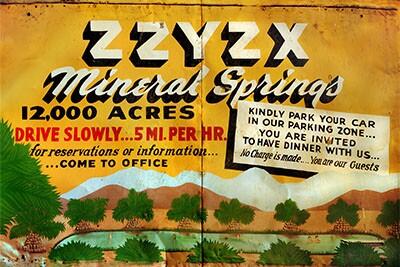 A sign welcoming travelers to Zzyzx   Jason Wallace/CSU Desert Studies Center
