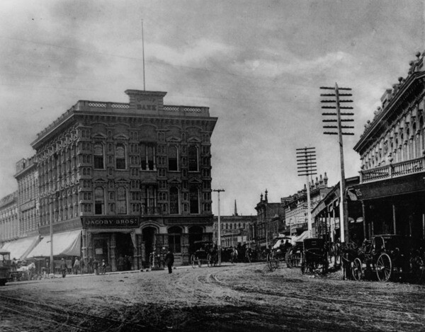 The Temple Block, once home to the Temple Workman Bank ca. 1885. Image: Courtesy of Los Angeles Public Library