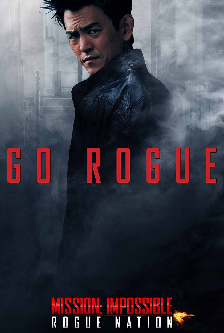 """movie poster featuring an Asian American man in a trench coat with the words """"Go Rogue"""" on top."""
