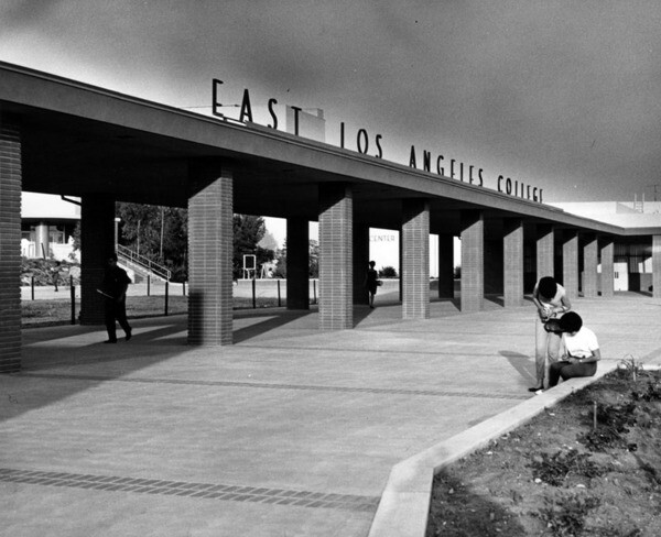 Entrance to East Los Angeles College, date unknown | Courtesy of Los Angeles Public Library