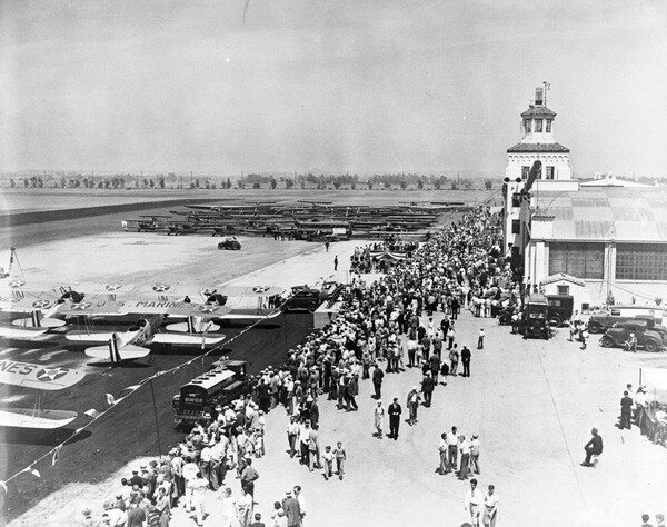 Though it had already hosted an air show and opened to plane traffic, Mines Field was officially dedicated in June 1930. Courtesy of the Los Angeles Area Chamber of Commerce Collection, USC Libraries.