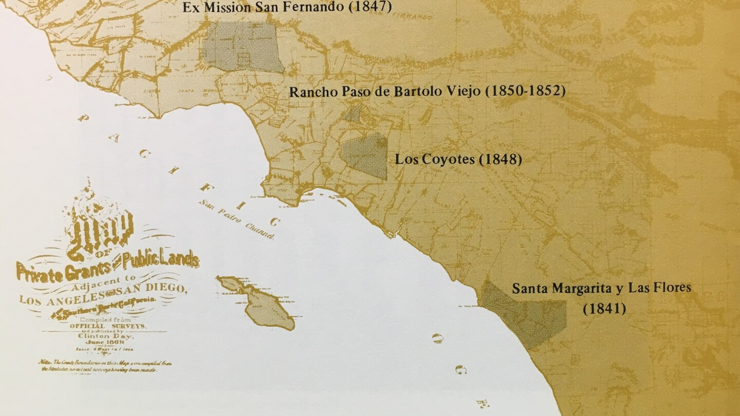 Map of Pio Pico's lands published by the Pio Pico State Historic Park