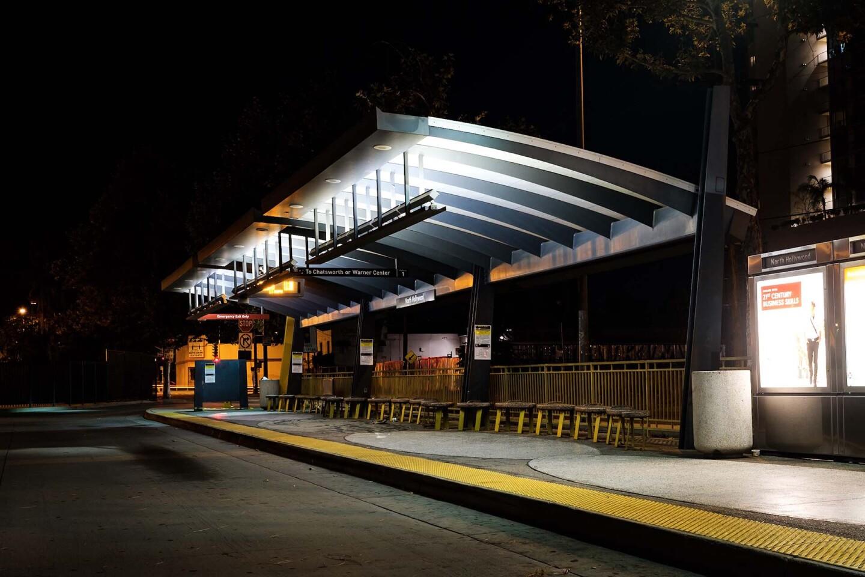 Metro Orange Line bus platform, North Hollywood 2019. | Kwasi Boyd-Bouldin