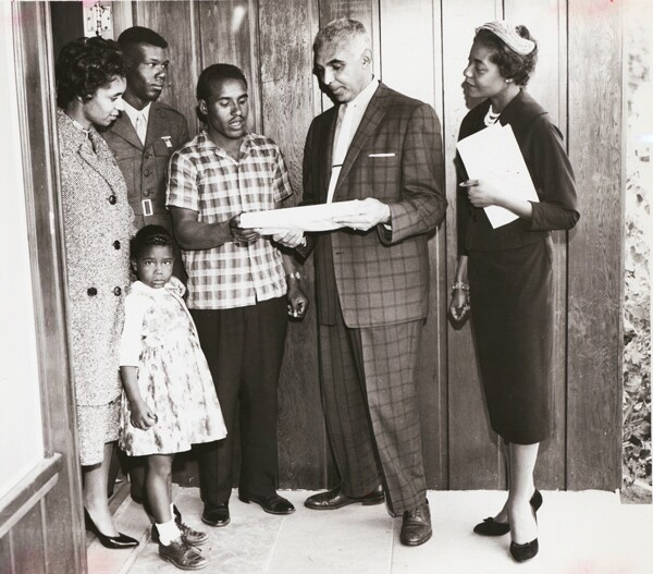 An unidentified family in their new South Los Angeles home ca. 1955 | Image: Courtesy of USC Digital Archives
