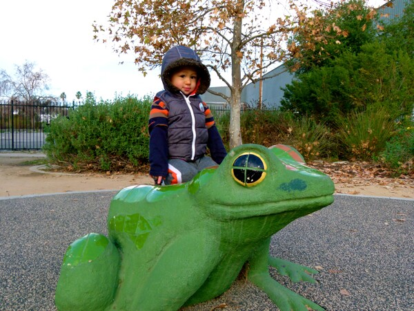 A Mosaic frog, snake, and turtle, are fun for kids at Marsh Park--