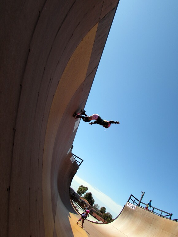 Bella, shredding it up on the ramps.