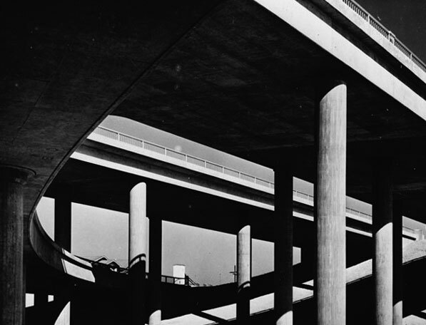 View from beneath the Four Level, circa 1950s. Courtesy of the Los Angeles Area Chamber of Commerce Collection, USC Libraries.