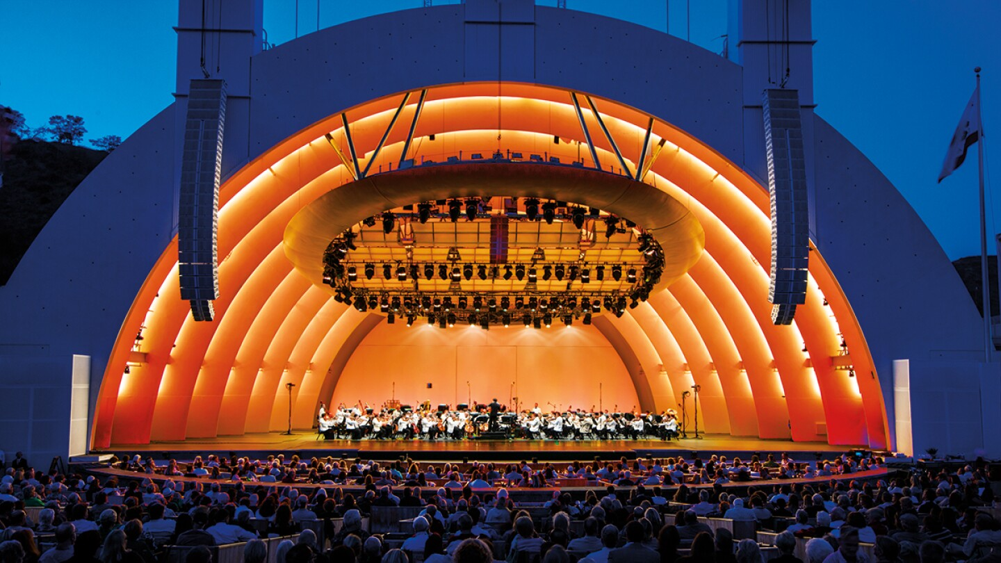 Hollywood Bowl shell with orchestra on stage. |  Adam Latham