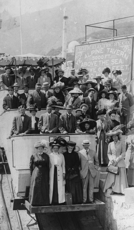 Passengers on Mount Lowe electric passenger train, circa 1912. | Courtesy of the Los Angeles Public Library