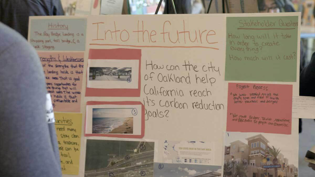 A poster at Y-PLAN Resilient by Design Youth Challenge Summit detailing how Oakland can help the state reach its carbon reduction goals. | Emmanuel Moran/Y-PLAN