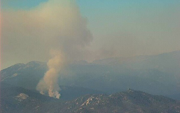 The Soda Fire burning in Sequoia National Forest at 1:23 p.m. today. | Webcam Photo: Courtesy U.S. Forest Service