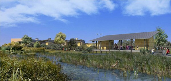 This rendering of the proposed Discovery Center includes an outdoor classroom and a recreation of a wetland that would be part of one of several construction phases. Image by San Gabriel River Discovery Center