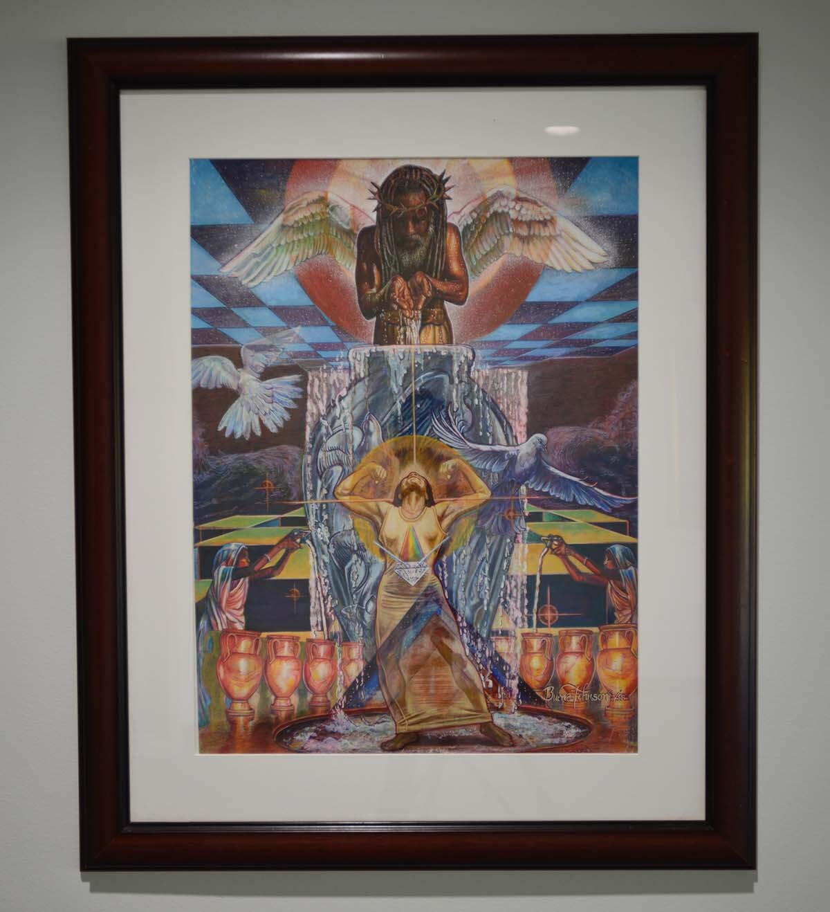 """Buena Johnson, """"Thou Anointest My Head with Oil, My Cup Runneth Over, Psalm 23:5,"""" 1998, color pencil on paper 