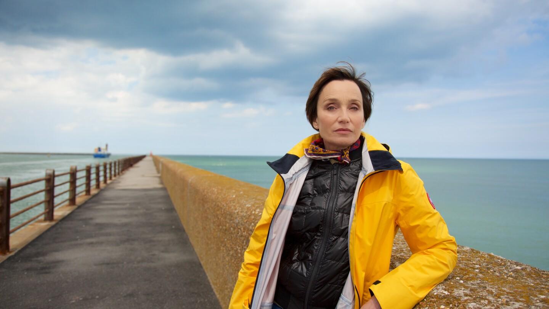 Actress Kristin Scott Thomas on The Mole in Dunkirk, France.