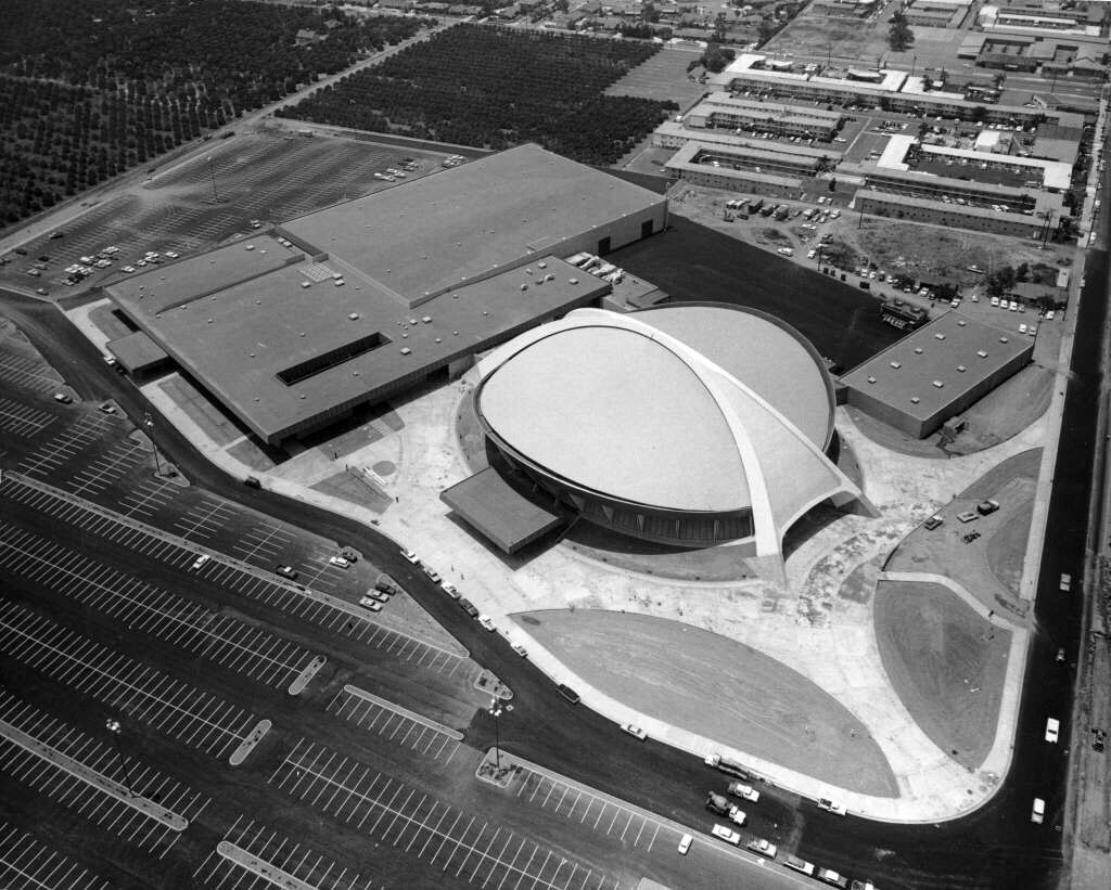 The arena around the time of its completion in 1967. Courtesy of the Anaheim Public Library's Anaheim History Room.
