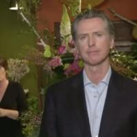 Governor Gavin Newsom at a flower shop, giving update on coronavirus to Californians