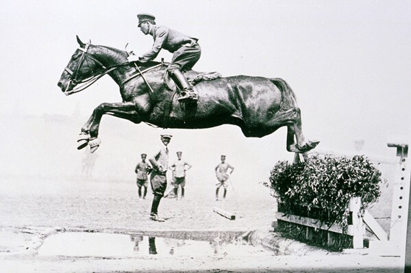 Takeichi Nishi, pictured here in 1932 in Rustic Canyon, won the gold medal in show jumping in the 1932 Olympics. Courtesy of the Palisades Historical Image Collection, Santa Monica Public Library Image Archives.