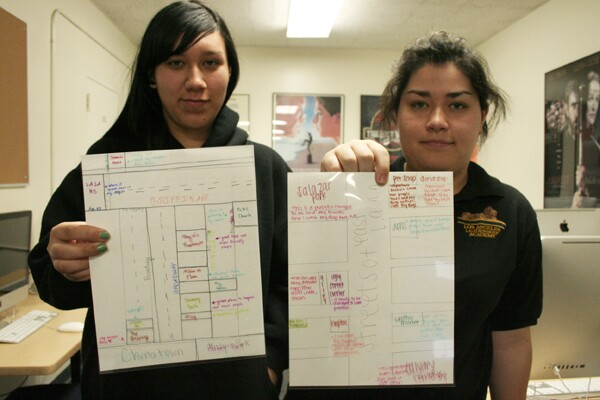 Angie and Lyric from The L.A. Leadership Academy share their maps