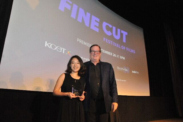 Jack Larson Southern California Filmmaker Award recipient Hanna Kim with Deadline.com Chief Film Critic Pete Hammond