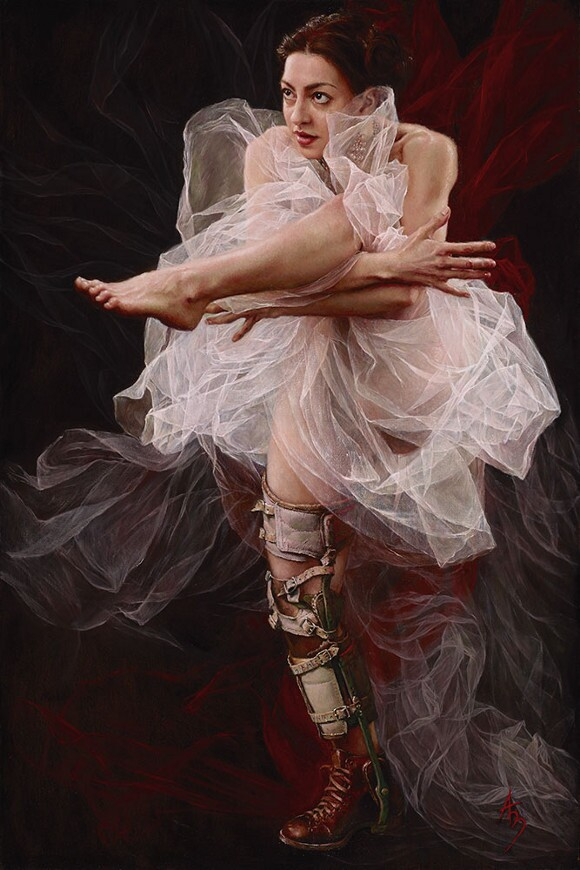 """Alexandra Manukyan, """"Tangled,"""" oil on linen, 24 x 36 inches."""