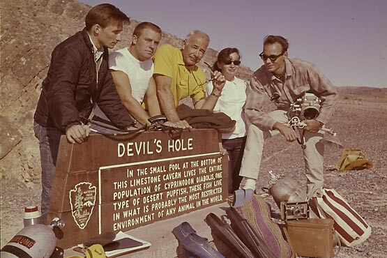 The early 1960s Devils Hole research dive team led by Jim Houtz who is pictured second from the left.   Photo: Jim Houtz collection.