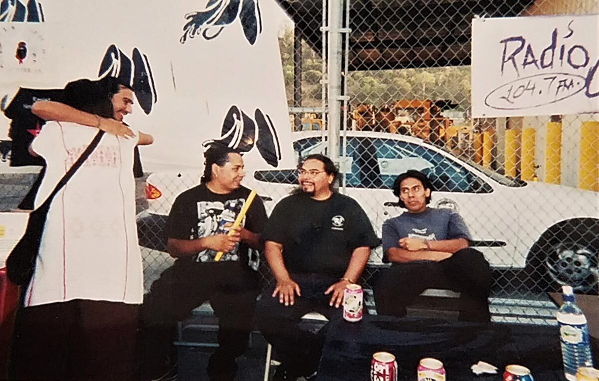 From left to right: DJ Bean from Aztlan Underground, Lupe, Yaotl from Aztlan Underground, Jose Maldonado, and Edgar Toledo at The Farce of July, 1999   Courtesy of Edgar Toledo and Emily Martinez