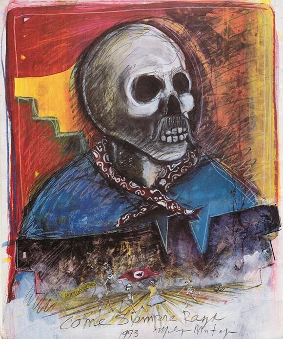 """Calavera Campesino"" by Malaquias Montoya, 1993. Acrylic, pencil, and pastel on paper, 30′′×22′′   Courtesy Of Malaquias Montoya."