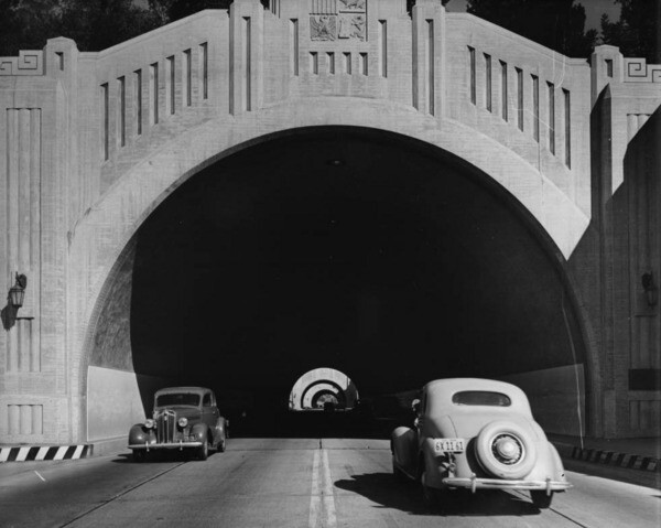 Two-way traffic once ran through the Figueroa Street Tunnels, now part of the Arroyo Seco Parkway. Courtesy of the USC Libraries - Dick Whittington Photography Collection.