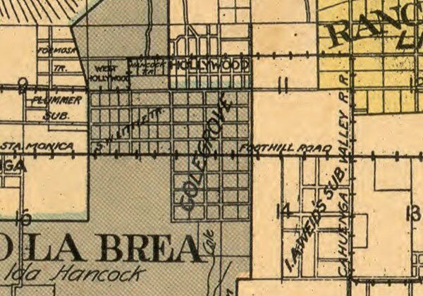 An 1898 map of Los Angeles County shows Hollywood and Colegrove side by side. Courtesy of the Library of Congress.