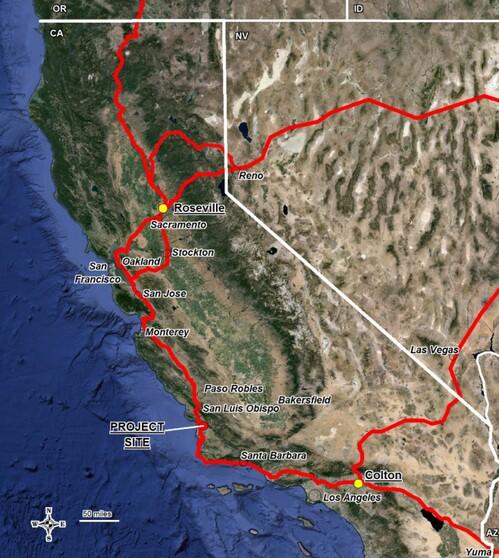 Mainline Rail UPRR Routes to the Santa Maria Refinery   Image: SLO County