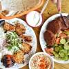 Plates of chicken breast and falafel at Mini Kabob