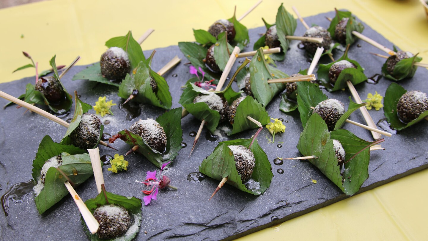 Dessert at Baudar's wild food walk, made with dates, flavored with wild plants, and decorated with wild flowers I Camille Frazier