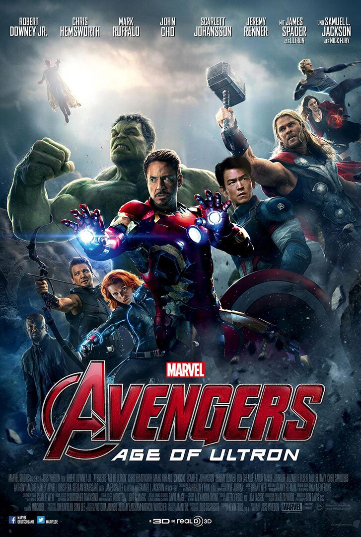 Movie poster featuring several superheroes.