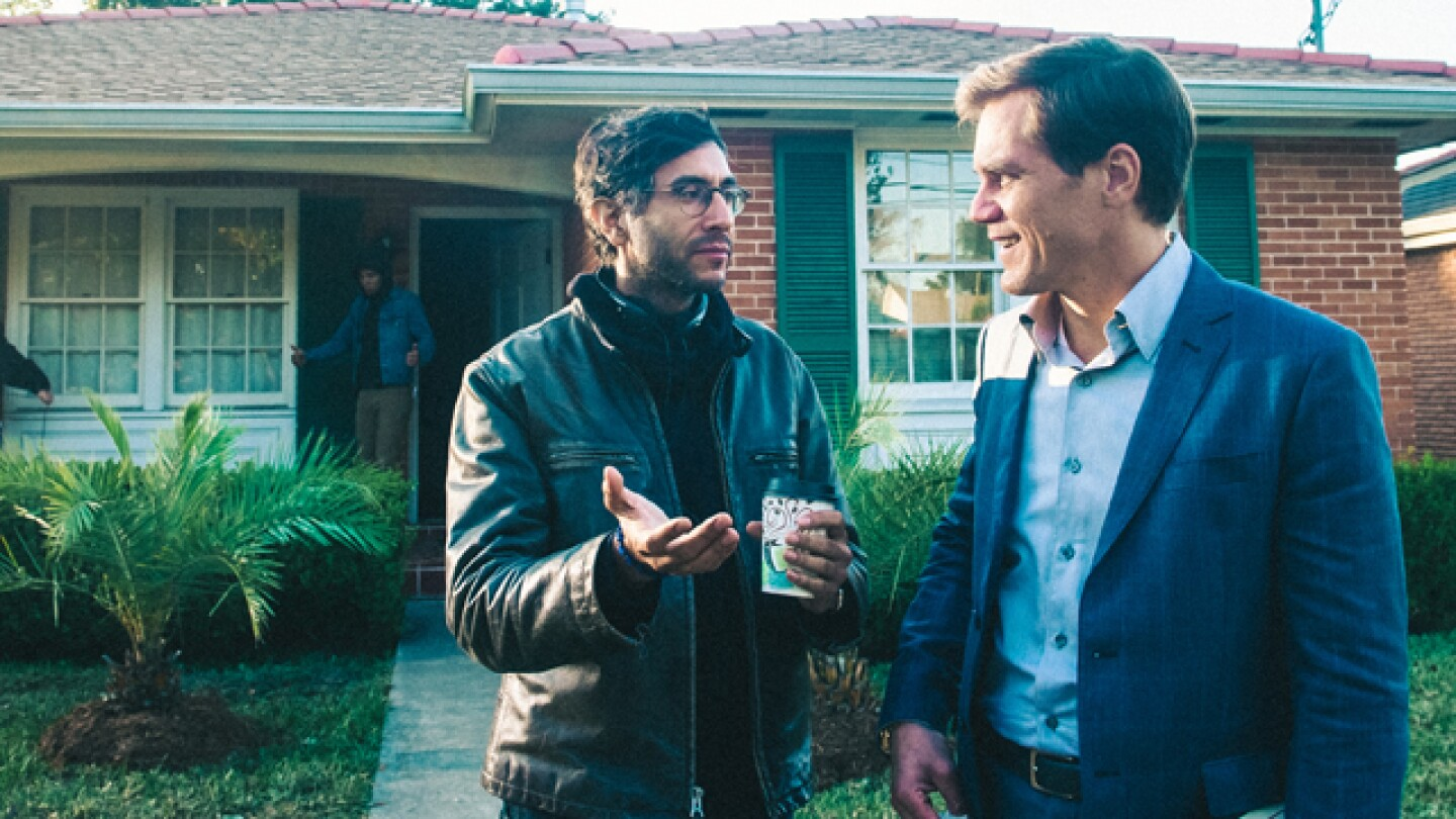 99 Homes Writer and Director Ramin Bahrani with actor Michael Shannon I Photo Courtesy of Broad Green Pictures