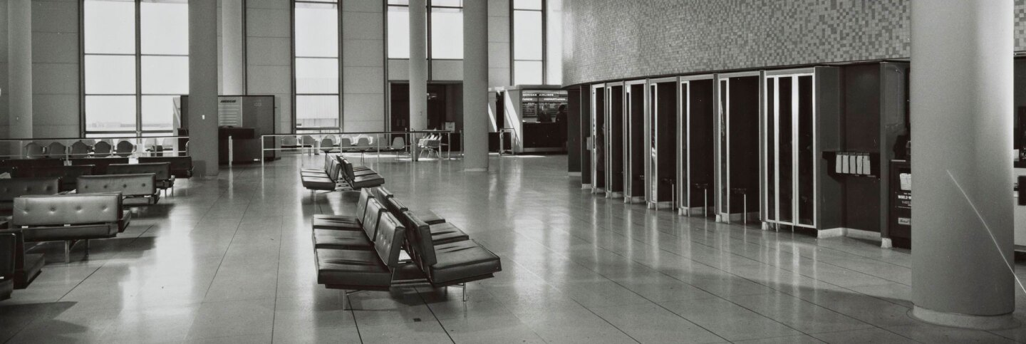 Arrival area of the LAX Theme Building, which Paul R. Williams helped design   J. Paul Getty Trust. Getty Research Institute, Los Angeles
