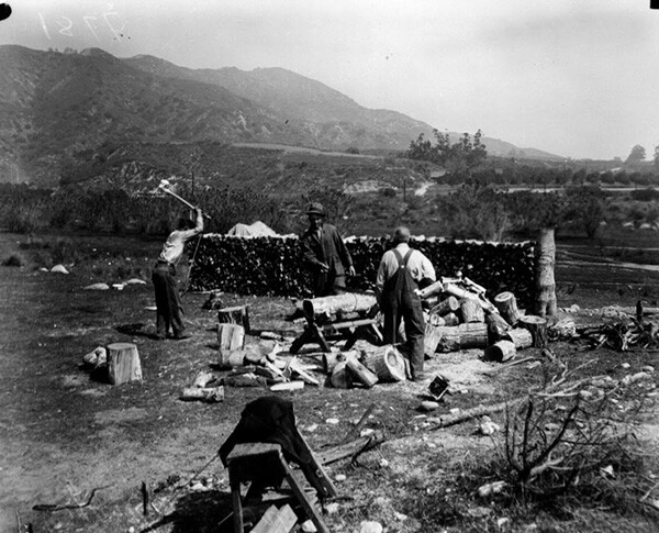 Timber was pulled from San Gabriel Canyon. Here, squatters chop wood in the Canyon in the 1930s. | Courtesy of the Los Angeles Public Library
