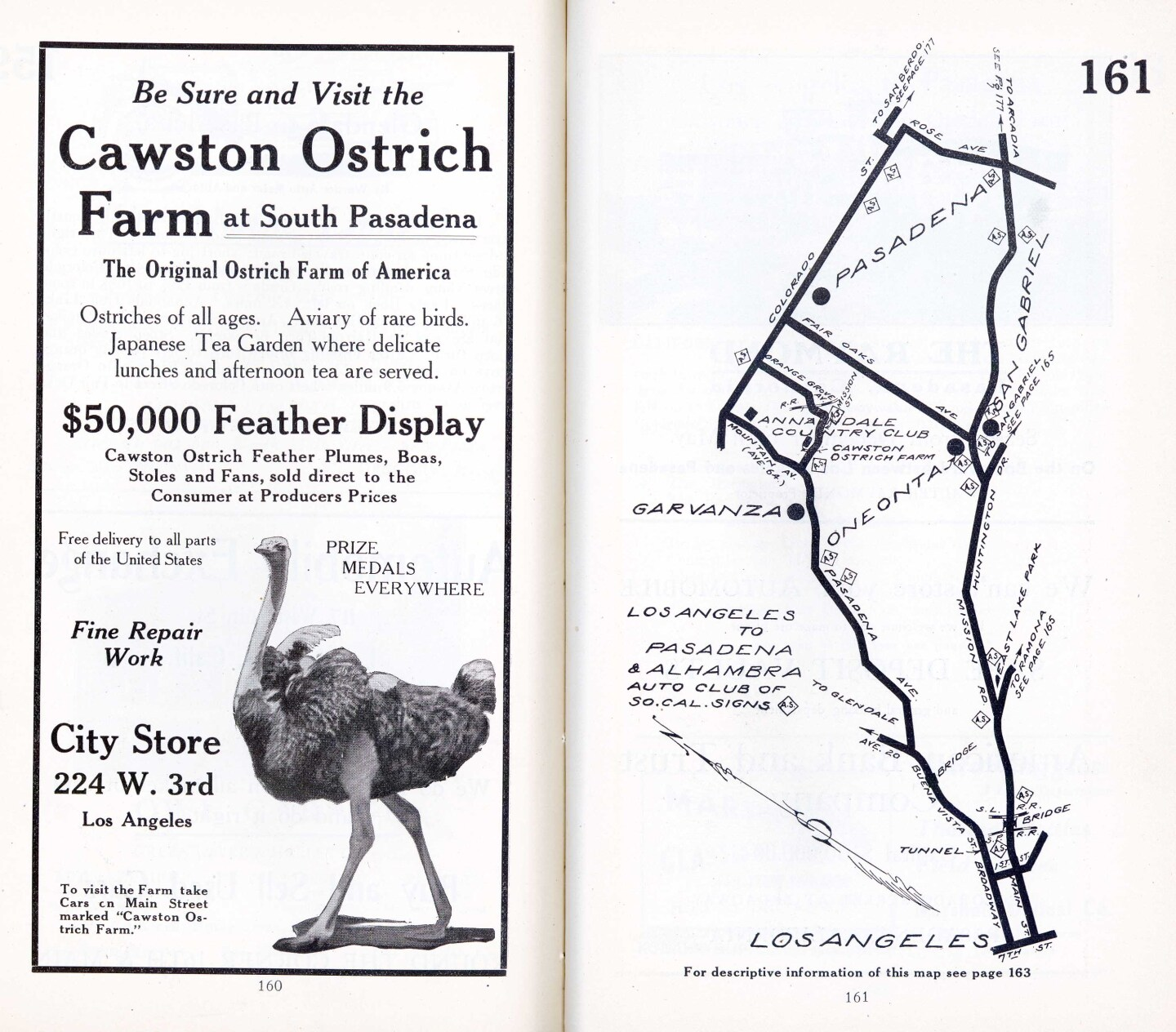 The Auto Club's first map product, a 1910 tour guide, featured an ad for the Cawston Ostrich Farm. Courtesy of the Automobile Club of Southern California Archives.