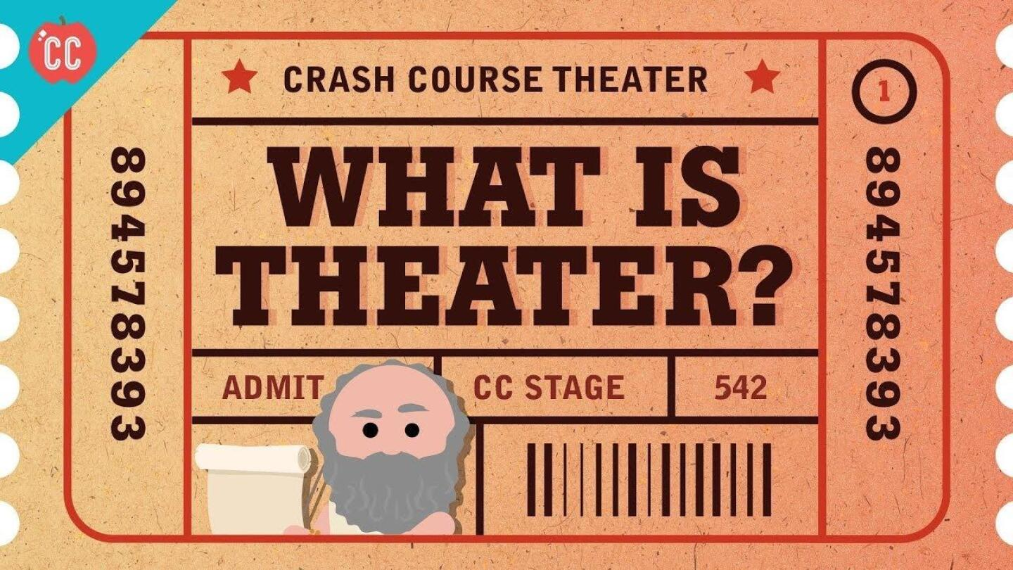 """A thumbnail image of a ticket stub that says """"What Is Theater?"""""""