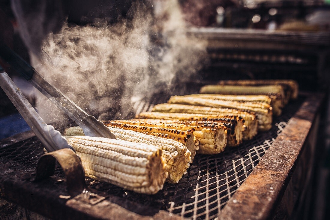 The Migrant Kitchen: Grilled corn atMercado Olympic