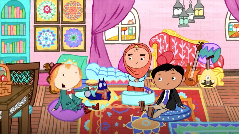 Caricatura de una sala con tres niños, una con un hijab, y un gato.