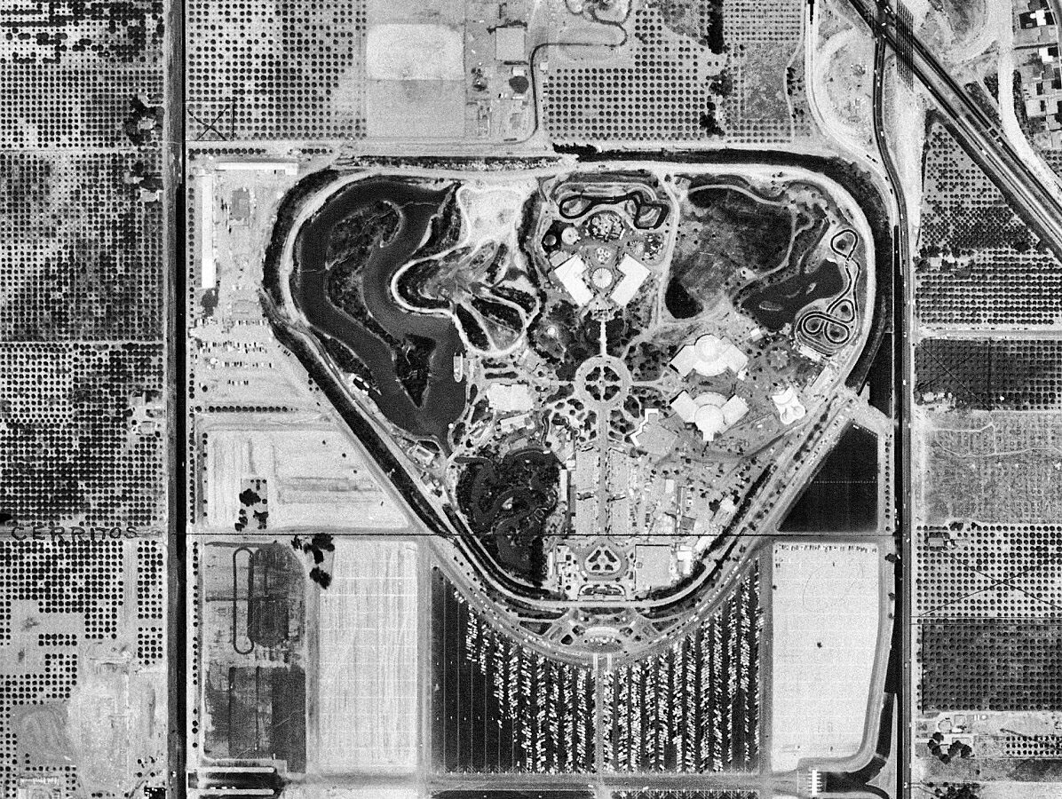 Aerial view of Disneyland surrounded by orange groves in 1955. Courtesy of the Orange County Archives.