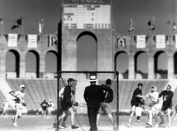 Olympic lacrosse match inside the Coliseum. Courtesy of the Security Pacific National Bank Collection, Los Angeles Public Library.