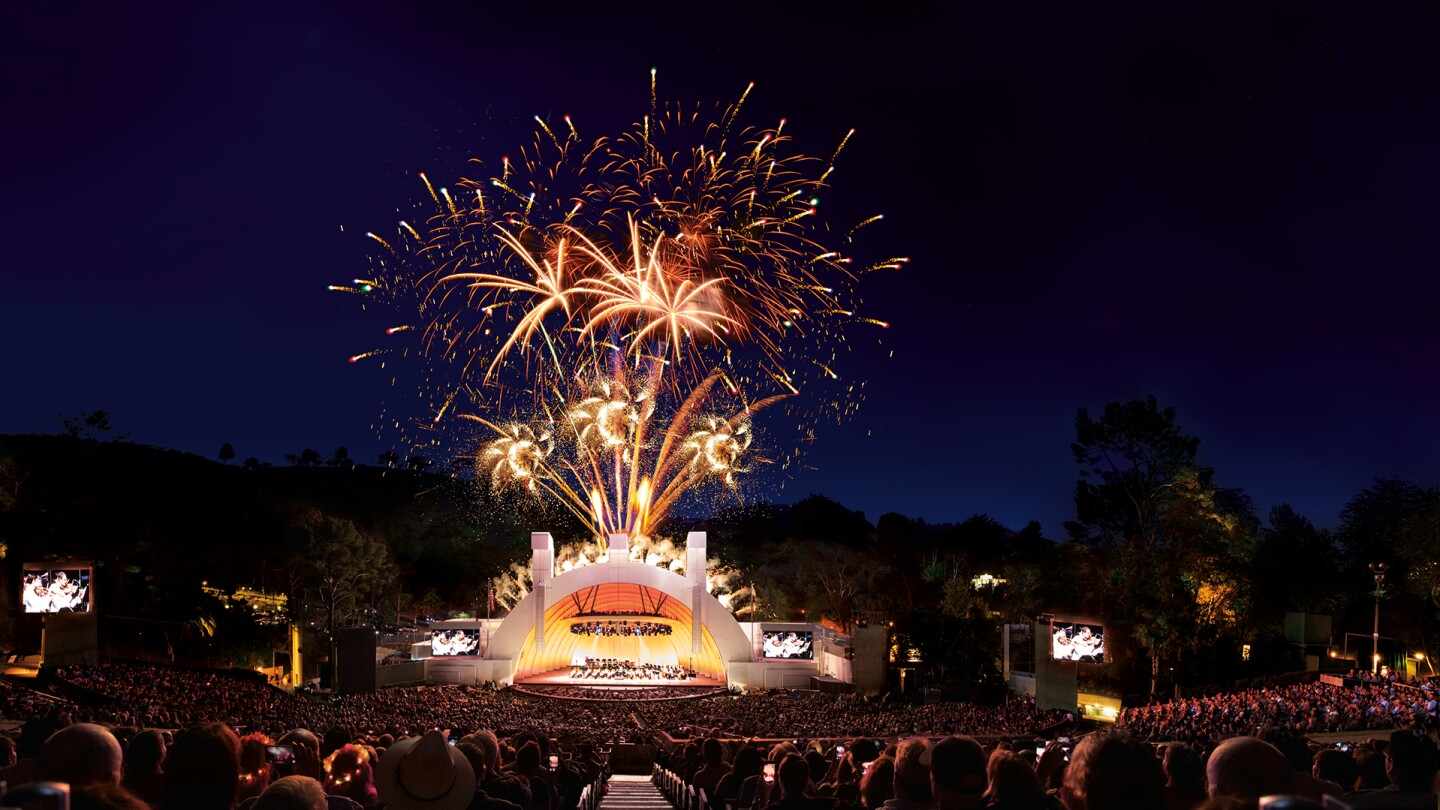 "Hollywood Bowl shell with fireworks on July 4, 2014 | Adam Latham, Courtesy of the Los Angeles Philharmonic ""In Concert at the Hollywood Bowl"" ep 6 thumbnail"
