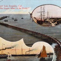The 4,600-foot wharf at Port Los Angeles, located a half mile north of Santa Monica Canyon, was part of the Southern Pacific's scheme to locate a harbor in Santa Monica. Courtesy of the Palisades Historical Image Collection, Santa Monica Public Library.